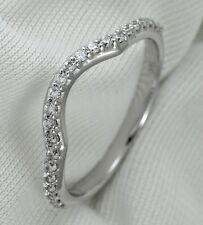 Diamond Wedding Band Ring 0.25Ct Round Cut 14K White Gold Curved Anniversary