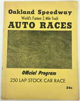 Oakland Speedway Auto Races Program 250 Lap Stock Car Race, NASCAR 1953