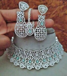 Bollywood Style Indian Rose Gold Plated Choker Necklace CZ AD Tikka Jewelry Set