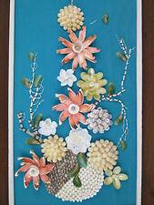 """Vintage Sea Shell Shadow Box Wall Art For Nautical or Tiki Bar 15"""" x 27"""" Blue"""