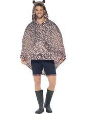 Mens Leopard Print Ponchos Waterproof Party Jacket Fancy Dress Festival Animal