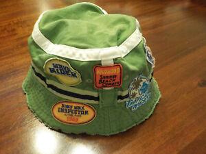( 4-6 ) The Children's Place Sun Bucket Hat Raw Edges Surfer Shark Beach Green