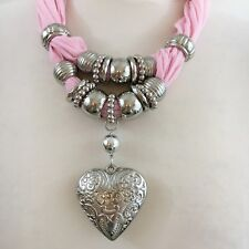 Beautiful Ladies Scarf Ring and Embossed Heart Pendant Set Assorted Rings