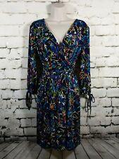 Nicole by Nicole Miller Womens S Small Wrap Dress waist tie colorful 3/4 sleeve