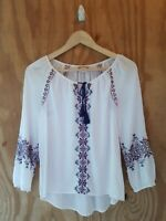 Lucky Brand Women's Blouse Long Sleeve Keyhole Neck Embroidered Tassel.Size XS