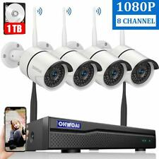 8CH Wireless 1080P NVR Outdoor Home WIFI Camera CCTV Security System Kit 1TB HDD