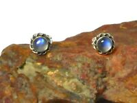 MOONSTONE   Sterling  Silver  925  Gemstone  Stud  Earrings  -  5 mm