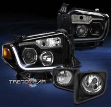 2014-2017 TOYOTA TUNDRA BLACK PROJECTOR LED HEADLIGHTS w/CHROME DRIVING FOG LAMP