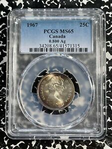 1967 Canada 25 Cent PCGS MS65 Lot#G819 Silver! Nice Toning!
