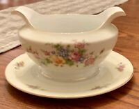 Vtg Meito China Gravy Boat Attached Plate Ivory Floral Gold Rim Japan