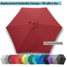 9ft Patio Garden Yard Market Replacement Umbrella Canopy Cover 6 Ribs Brick Red