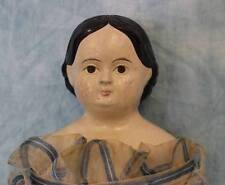 "Early 17.5"" Antique Papier-Mache Doll c1850 Milliner's Model Wood Arms & Legs"