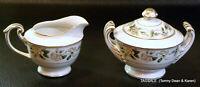nice VALMONT china BARCAROLE pattern ~ Creamer & Lidded Sugar Bowl Set ~ Japan