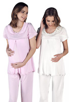 Maternity Nursing Pajama Set S M L White
