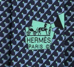 "Cool Brand New Tag Hermes Tie Heavy Silk Twill Blue ""Highlight"" Rare Mint!"