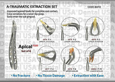 Dental Extraction Forceps A-TRAUMATIC set of 6 by Dental USA