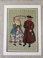 1932 Vintage Stampa Olandese Provinciale Holland Moda Abito Cappello Paesi Bassi