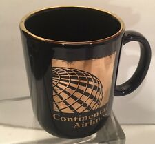 Vintage Blue Continental Airlines Logo Coffee Mug Tea Cup - Gold Rimmed - 12oz