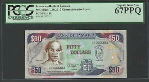 Jamaica 50 Dollars 1-10-2010 P88 Uncirculated Graded 67