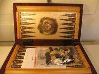 Backgammon 32 x 29 cm Holz braun
