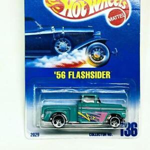 1991 Hot Wheels Blue Card '56 Flashsider Blue Teal Green 5 Dot Collector #136
