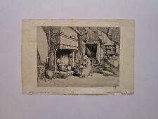 Gravure pointe sèche, Femme au tricot, C. Huard, 1874-1965