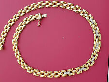 """  PROMO "" SUPERBE COLLIER  MAILLE GRAIN RIZ  OR 18 K  - 750 /1000  -   DIAMANTS"