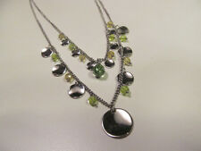 Strand Necklace Green Crystals & Discs *Signed Lia Sophia Silver Tone Double