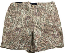NWT Womens Bandolino Beige Paisley Stretch Comfort Modern Fit Amy Shorts Size 12