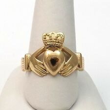 14K Gold Irish Celtic Claddagh Ring Unisex  Sz 8.5