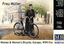 Masterbox German Frau Müller Woman bicycle Fahrrad Modell-Bausatz 1:35 Diorama