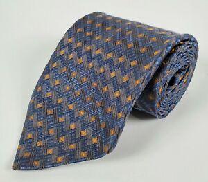 "Jhanes Barnes 100% Silk Blue Geometric 59"" Long Mens Tie"