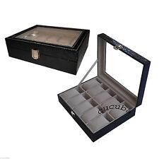 BOX SCATOLA CUSTODIA CON VETRINA PORTAOROLOGI IN ECOPELLE 10 POSTI (B2)