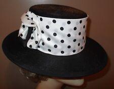 New listing Vtg Mary Corene 1950s/60s Black Straw Brim Hat W/ Polka Dot Band & Side Buckle