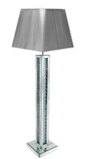 Stunning Mirror floating glass crystals floor lamp with square grey Shade 175cm
