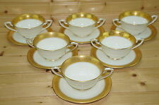 "Royal Worcester C1393 Gold (6) Bullion or Cream Soup Bowls, 4"" & (6) Saucers 5¾"""