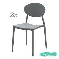 Sedia in Plastica Moderna Grigio Basalto 2 Pezzi - SPEDIZIONE GRATUITA