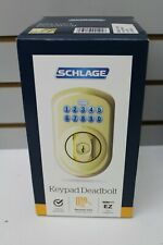Schlage Ez Install Plymouth Bright Brass Keypad Deadbolt Be365 V Ply 505 New