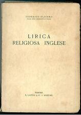 OLIVERO FEDERICO LIRICA RELIGIOSA INGLESE LATTES &  C. 1936 I° EDIZ.