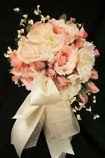 ROUND BRIDE WEDDING BOUQUET SILK FLOWERS BLUSH AND IVORY ROSES 13 PIECE