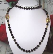 Black Onyx With 14k Gold Beaded Necklace.B007