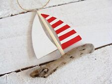 Cute Red Stripped Driftwood Boat Lovely To Hang In Any Room Nautical Theme