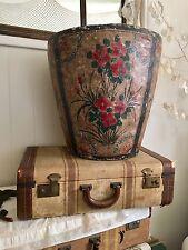 Huge! Vintage Paper Mache Planter Pot Hand Painted Flowers