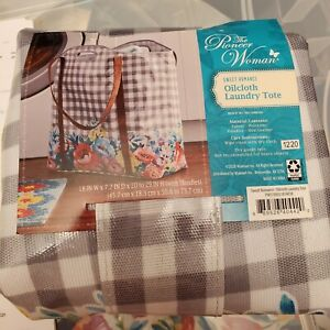 Pioneer Woman Sweet Romance Oilcloth Laundry Tote Bag Gingham