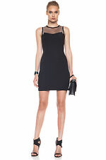 Rag & Bone Black Franklin Mesh-Paneled Scuba-Jersey Mini Dress 0  UK 4 NWT $495