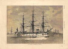 Navire Vaisseau Cuirassé Le Bayard de l'Amiral Courbet Marine GRAVURE 1885
