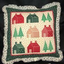 Vintage Quited Country Christmas Trees and Houses Accent Pillow with Lace Fringe