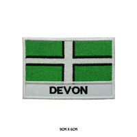 DEVON County Flag With Name Embroidered Patch Iron on Sew On Badge For Clothes