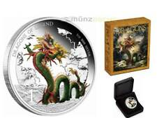 1 $Dólar Dragons of Legend CHINESE DRAGON TUVALU 1 onza plata plata pp 2012