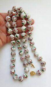 "Vintage Asian Cloisonne White Enamel Pink Flower 12MM BEAD 28"" Necklace"